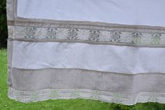 Rustic Upholstery Fabric, Antique Beds, Crocheted Lace, Linen Sheets, Blue Towels, Romantic Lace, Linen Curtains, Gorgeous Fabrics, Pure Products