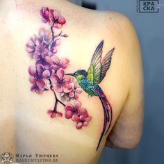 Photo of Marya Turpeco tattoo - Hummingbird tattoo - Photo tattoo Marya Turpeko – Hummingbird tattoo on the shoulder blade - Hummingbird Flower Tattoos, Hummingbird Tattoo Watercolor, Hummingbird Tattoo Meaning, Mom Tattoos, Cute Tattoos, Body Art Tattoos, Sleeve Tattoos, Tattoo Designs For Women, Tattoos For Women Small