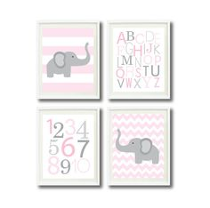Modern Nursery Print Set of Four 11x14-Alphabet, Numbers, Elephant, Chevron, Stripes-Pale Pink, White and Grey OR Choose colors-4-Kids Room