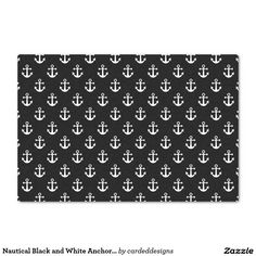 "Nautical Black and White Anchor Pattern 10"" X 15"" Tissue Paper"