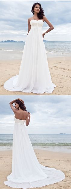 """Simply stunning sweetheart neckline wedding dress! Perfect for a beach-theme wedding, don't you think so? remember to use coupon code """"PTL20901"""" for an extra discount when you spend $100+"""