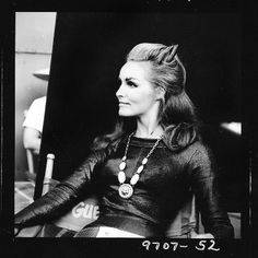 Julie Newmar on the set of the Batman TV series, 1960's