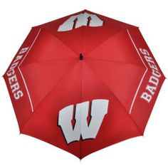 NCAA Wisconsin Badgers 62-Inch WindSheer Hybrid Umbrella by Team Effort. $39.95. Patented Wind-Release System allows wind to escape between upper and lower canopies preventing inversion during storms and high winds. Two-color 100% rubber handle with dual-density grip is designed to fit comfortably in your hand or securely in your push cart. Push button auto-open. 190T nylon cover and sheath in vivid collegiate team colors. 4 eye-catching collegiate trademarks printed ...