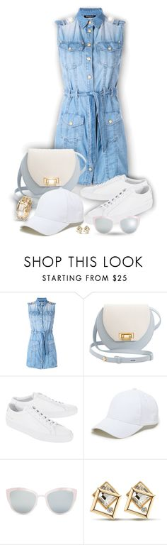 """""""Denim Dress!"""" by asia-12 ❤ liked on Polyvore featuring Balmain, Joanna Maxham, Common Projects, Sole Society and Topshop"""