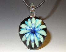Floral Glass Pendant, Blue, Soft Green, Air Trap - flamework, lampwork, borosilicate