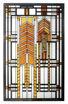 """Amazon.com - Frank Lloyd Wright Autumn Sumac Stained Glass 10"""" x 8.75"""" - Stained Glass Window Panels"""