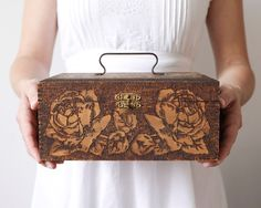 Antique Wooden Keepsake Box Ca 1915 Pyrography by smilemercantile.  Card box.  So gorgeous!
