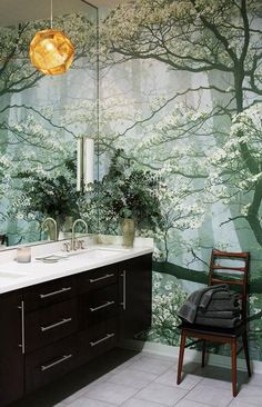 beautiful wall mural in small bathroom