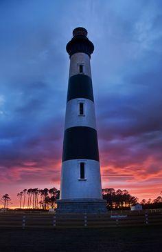 Lighthouse on Roanoke Island at Sunset