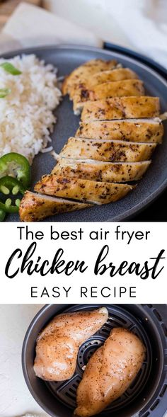 This is the juiciest air fryer chicken breast recipe. It is a simple weeknight dinner staple or sunday meal prep protein option. Air Fryer Oven Recipes, Air Frier Recipes, Air Fryer Dinner Recipes, Air Fryer Recipes Chicken Breast, Fried Chicken Breast, Chicken Breast Recipes Healthy, Chicken Breasts, Baked Chicken, Boneless Chicken