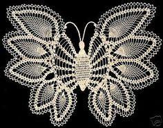 Vintage Crochet patrón para hacer piña Mariposa Servilleta Silla conjunto pineapplebut