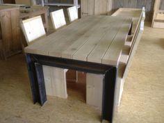 Tafel met balkenblad en H-balken (natural,zonder bezorging) | stalen onderstellen | StoereTafels.com, massief eiken tafels en meer