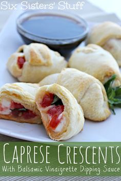 Caprese Crescents with Balsamic Vinaigrette Dressing from sixsistersstuff.com #crescents #tomatoes #basil