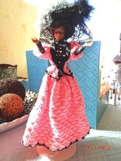 1999 Black Victorian BARBIE Pink/Black Crocheted Handmade w/feather hat REDUCED