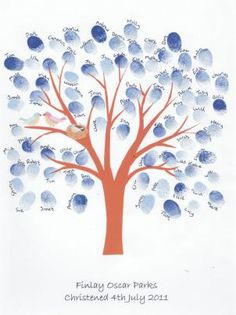 This is for a Childs babtism or Christening. You ask your guests to leave a finger print on the tree and write their name above. It comes with a frame but would also be so easy to make yourself.