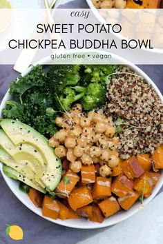Sweet Potato Chickpea Buddha Bowl (Vegan) This sweet potato buddha bowl is an easy and delicious way to pack a lot of nutrition, flavor, and antioxidants into one bowl. Veggie Recipes, Whole Food Recipes, Vegetarian Recipes, Healthy Recipes, Easy Plant Based Recipes, Vegan Bowl Recipes, Potato Recipes, Plant Based Eating, Plant Based Diet