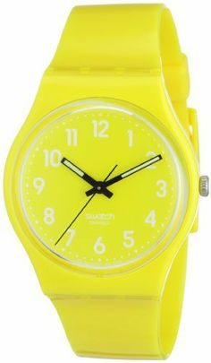 Swatch Women's GJ128 Quartz Yellow Dial Plastic Watch Swatch. $42.50. Water-resistant to 30 M (99 feet). Plastic. Case diameter: 30 mm. Quartz movement. Casual watch. Save 29%!