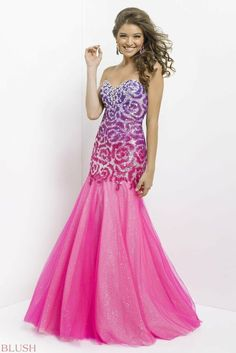 Long prom gowns, Pink yellow and Prom gowns on Pinterest