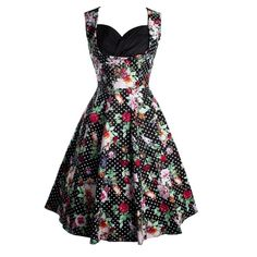 ea0427b974c592 Floral Printed Fancy Sweetheart Skater-dress ($20) ❤ liked on Polyvore  featuring dresses