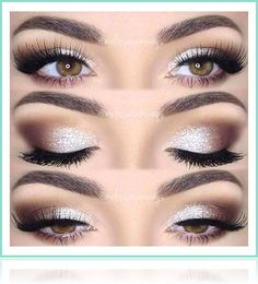 Eye makeup will complement your beauty and also make you look and feel amazing. Find out just how to use make-up so that you can show off your eyes and make an impression. Learn the best ideas for applying make-up to your eyes. Wedding Makeup For Brown Eyes, Best Wedding Makeup, Wedding Hair And Makeup, Hair Makeup, Silver Eye Makeup, Wedding Nails, Makeup For Silver Dress, Sparkle Makeup, Eye Makeup For Prom