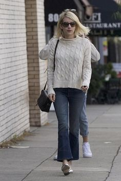 Emma Roberts wearing Gucci Soho Disco Bag, EF Collection Mother of Pearl Diamond Disc Studs, Miu Miu Mu 09ps Sunglasses, Mother Insider Crop Jeans in Double Trouble, Loeffler Randall Filipa Slingback Flats, Aerie Beachside Cable Turtleneck and Skinnydip Cats Forever Iphone 6/6s Case