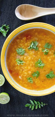 Indian Lentil Soup, Red Lentil Soup, Lentil Soup Recipes, Easy Soup Recipes, Yummy Recipes, Goan Recipes, Indian Food Recipes, Lentils Protein, Quick And Easy Soup