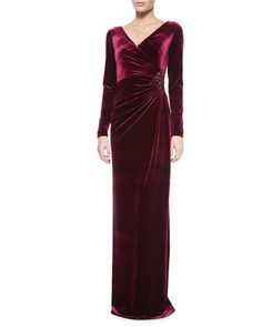 Long-Sleeve Faux-Wrap Gown, Merlot by Rickie Freeman for Teri Jon at Neiman Marcus.