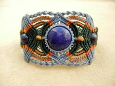 Lapis Lazuli Bracelet and Armband in Blue, Orange, and Green Micro Macrame
