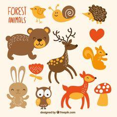 Animales del bosque lindos Vector Gratis