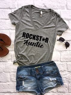 Rockstar Auntie (v-neck), aunt shirt, aunt squad, aunt life, new auntie, promoted to auntie, future auntie, auntie, gift for aunt