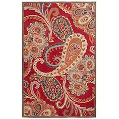 Red Paisley Tufted Wool Rug