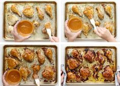 a process collage of how to baste chicken with barbecue sauce Oven Baked Bbq Chicken, Bbq Chicken Thighs, Barbecue Chicken, Barbecue Sauce, Crack Chicken, Easy Chicken Recipes, Dinner Recipes, Dinner Ideas, Meal Ideas