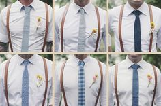 grooms men suspenders and ties of similar color, great idea