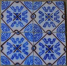¤ French PAS DE CALAIS DESVRES - 4 Tiles panel set c1870