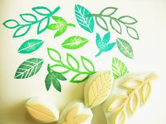 leaf rubber stamp  hand carved rubber stamp  hand by talktothesun, $12.00