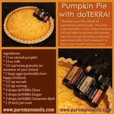 Pumpkin pie with essential oil spices. YUM.  www.mydoterra.com/kintzlife