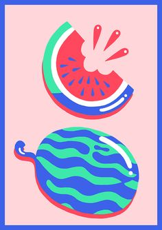 Mary Lou Faure: The Ultimate Summer // #visualresearch #illustration #watermelon // contrasting colours, graphic style