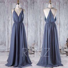 2016 V Neck Chiffon Bridesmaid Dress, Steel Blue Wedding Dress, A Line Maxi Dress, Spaghetti Straps Evening Gown Floor Length (H323)