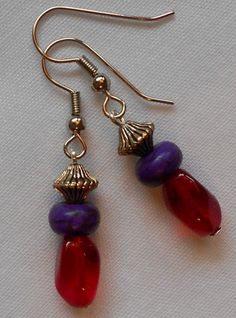 Handmade Earrings Red Contoured Beads with Purple Donut  Beads Redhatters #Handmade #DropDangle Sold
