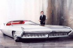 Sketch by noted car designer Wayne Kady for a Cadillac DeVille proposal, 1965.