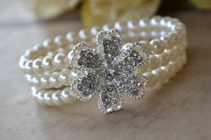 Pearl Cuff Bracelet with Crystal Flower by OurGardenofBeaden, $21.00