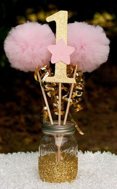 Twinkle Twinkle Little Star Party Pink and Gold Centerpiece Table Decoration?