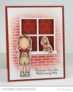 Woof You, Woof You Die-namics, Window Die-namics, Small Brick Background, Tiny Hearts Background - Michele Boyer  #mftstamps