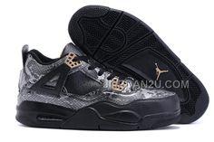 http://www.jordan2u.com/2016-air-jordan-4-black-snakeskin-blackgrey-for-sale.html 2016 AIR JORDAN 4 BLACK SNAKESKIN BLACK/GREY FOR SALE Only $93.00 , Free Shipping!