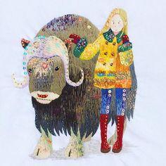 @kimikahara - Instagram:「Musk Ox & Girl ❄️ #modernembroidery #embroidery #embroideryillustration #embroideryart #embroiderydesign #embroideryartist #art #artist…」 Modern Embroidery, Beaded Embroidery, Embroidery Stitches, Hand Embroidery, Embroidery Designs, Musk Ox, Art And Craft Materials, Ceramic Animals, Animal Design
