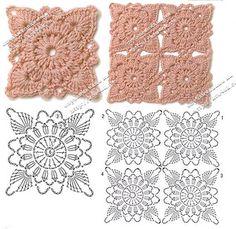 Hooked on crochet: motifs Crochet Square Patterns, Crochet Stitches Patterns, Crochet Diagram, Crochet Chart, Crochet Squares, Crochet Motif, Crochet Designs, Granny Squares, Crochet Doilies