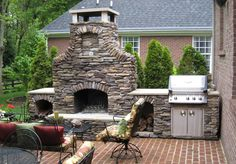 great outdoor patio fire place design with built in grill