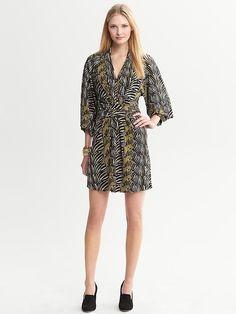 Banana Republic | Issa Collection Olive Zebra-Printed Kimono Dress