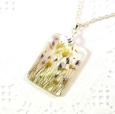 Rectangular Necklace with real pressed flowers  by PommeDeNeige