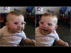 This Sweet Baby Girl Is So Happy To Be Seeing Clearly For The First Time With Her New Glasses - YouTube